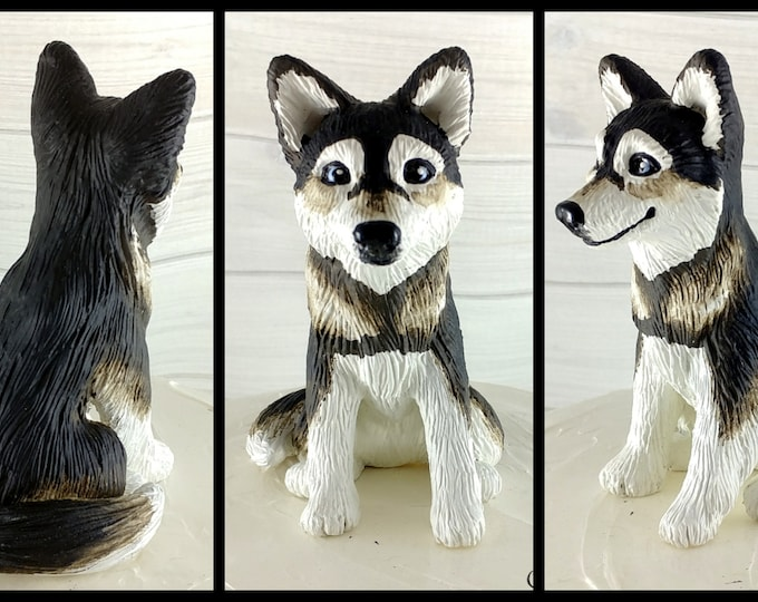 Dog Husky Sculpture - Realistic Dog Figurine - Husky Wedding Cake Topper