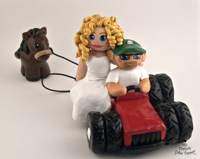 Bride and Groom Tractor Wedding Cake Topper
