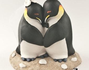 Penguin Cake Topper - Penguins Love Birds Cuddling on a Beach Base - Wedding Figurine