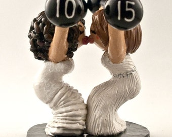 Bride and Bride Weight Lifting Wedding Cake Topper - Lesbian Wedding Cake Topper - LGBTQ Pride - Crossfit Cake Topper