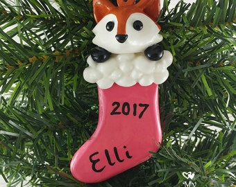 Fox Christmas Ornament / Animal in a stocking Christmas Gift / Stocking Stuffer