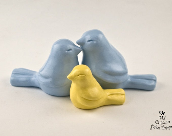 Love Bird Family Wedding Cake Topper - Pick Your Colors