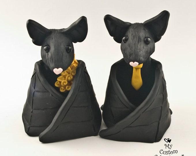 Bat Wedding Cake Topper - Black Bats Halloween Theme Pick Accessories and Colors