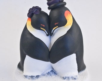 Penguin Wedding Cake Topper - Pick your Colors - Realistic Penguins