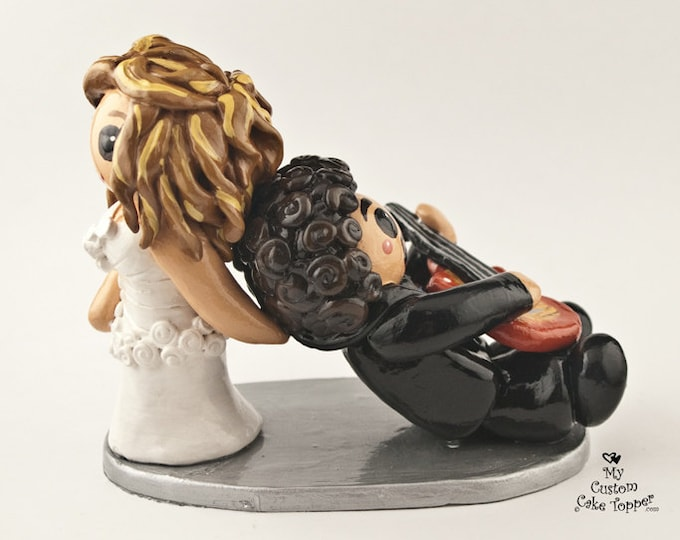 Bride and Groom Guitar Wedding Cake Topper