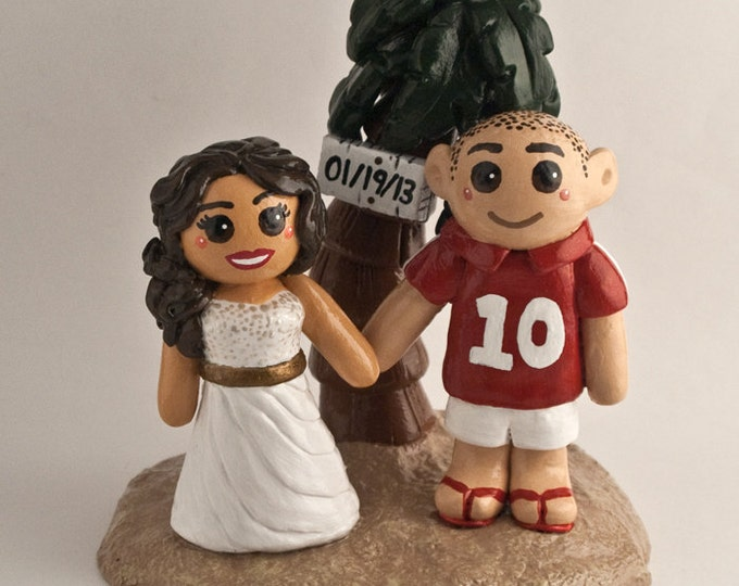 Beach Cake Topper Figurine - Destination Bride and Groom Wedding Centrepiece - Anniversary Gift
