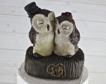 Barn Owl Wedding Cake Topper - Custom on a Stump