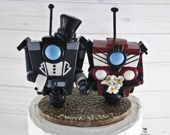 Gentleman Claptrap Borderlands Wedding Cake Topper - Video Game Wedding Cake Topper - Borderlands Sculpture - Digital Love