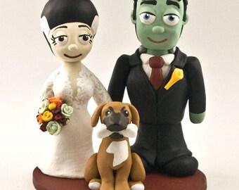 Frankenstein Cake Topper - Custom Bride and Groom Wedding Cake Figurine Topper - Themed Anniversary Gift