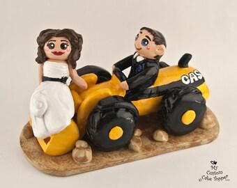 Bride and Groom Front Loader Wedding Cake Topper - Construction Wedding Cake Topper