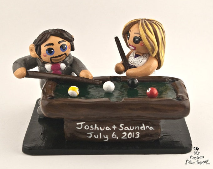 Bride and Groom Playing Pool Wedding Cake Topper