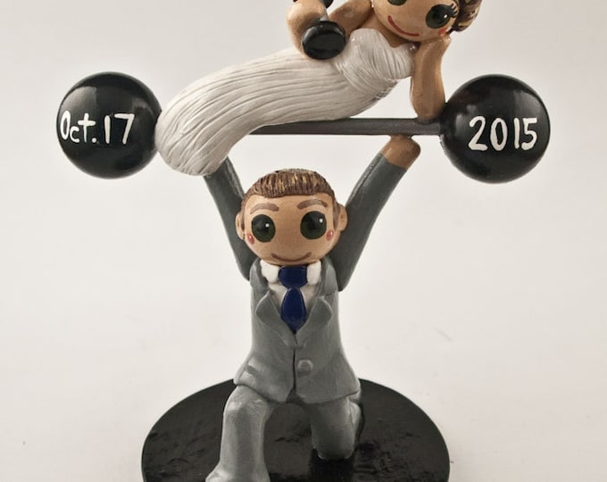 Bride and Groom Weightlifting Wedding Cake Topper - Crossfit Cake Topper