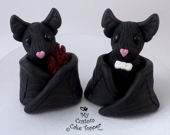 Black Bat Halloween Wedding Cake Topper