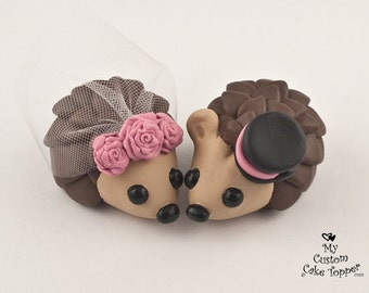 Hedgehog Wedding Cake Topper with Roses