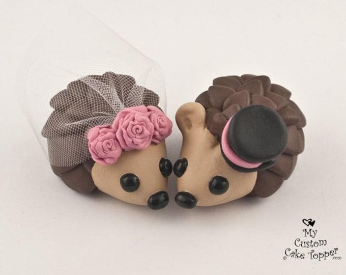 Hedgehog Wedding Cake Topper with Roses