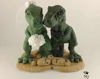 T-Rex Dinosaur Wedding Cake Topper - Realistic Bride and Groom T-Rex