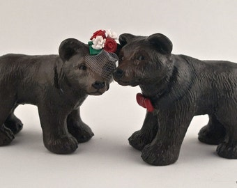 Bear Wedding Cake Topper Sculpture - Custom Dark Brown Bears - Wild Animal Decoration - Figurine