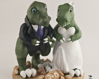 T-Rex Dinosaur Wedding Cake Topper Cute Dino Bride and Groom