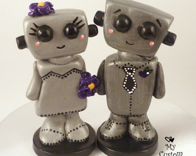 Bots Wedding Cake Topper Kawaii -  Robot Love Bride and Groom