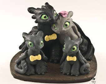 Toothless Nightfuries Family Wedding Cake Topper - Dragons