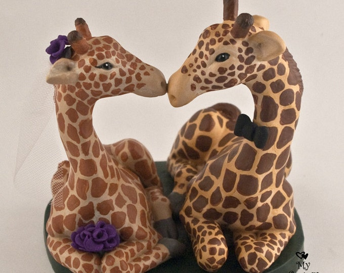 Giraffes Wedding Cake Topper
