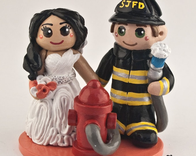Fireman Cake Topper - Career Job First Responder Bride and Groom Wedding Cake Topper Figurine - Sculpture
