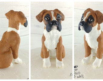 Dog Boxer Sculpture - Realistic Dog Figurine - Boxer Dog Wedding Cake Topper