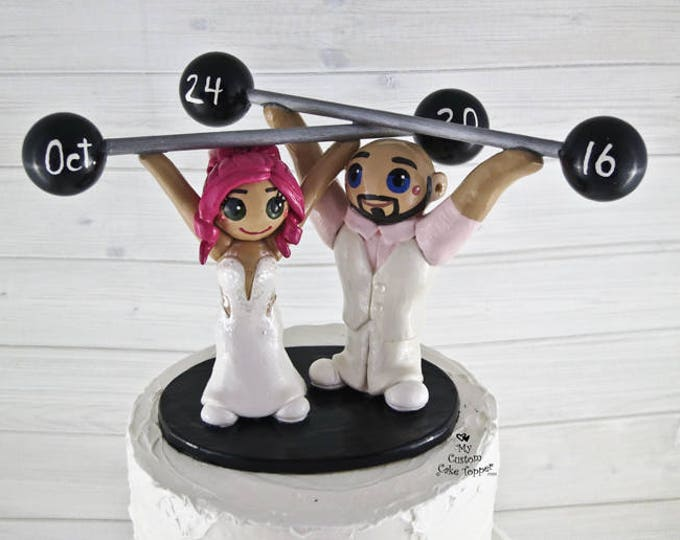 Crossfit Cake Topper - Olympic Weightlifting Bride and Groom Wedding Cake Topper Figurine - Anniversary Gift