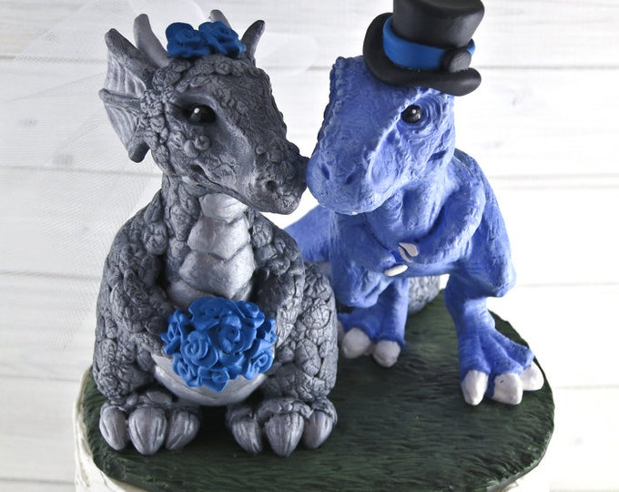 T-Rex and Dragon Wedding Cake Topper - Realistic Dino and Dragon Bride and Groom - Dinosaur Wedding Cake Topper