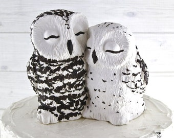 Snowy Owl Cake Topper - Love Birds on a Stump Wedding Figurine - Wood Base Sculpture - Farm Wedding