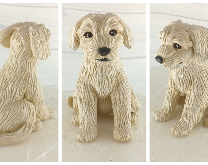 Dog Goldendoodle Sculpture - Realistic Dog Figurine - Goldendoodle Wedding Cake Topper