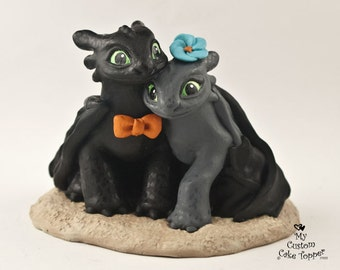 Toothless Nightfuries Wedding Cake Topper - Dragon Bride and Groom