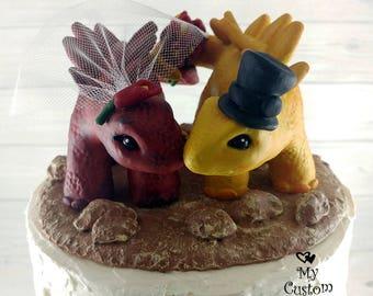 Stegosaurus Dinosaur Wedding Cake Topper - Realistic Dino Bride and Groom