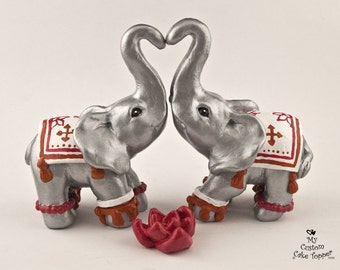 Elephant Wedding Cake Topper Silver - Decorated