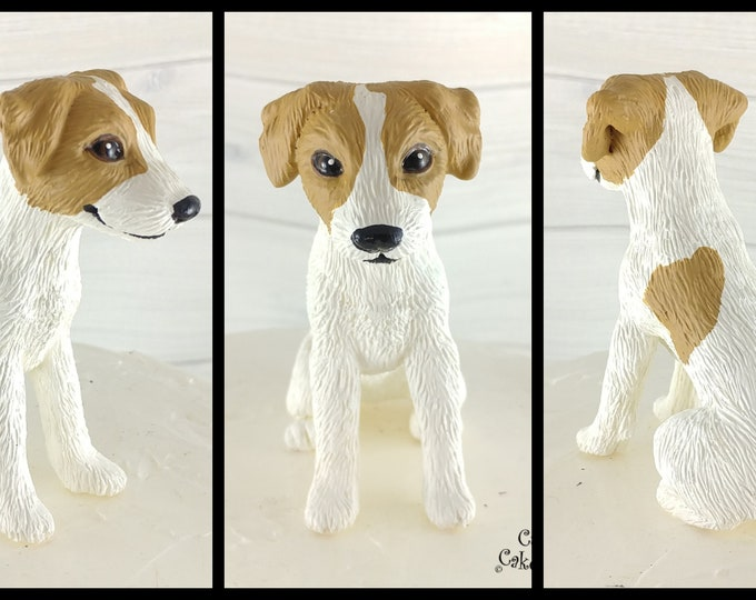 Dog Jack Russel Terrier Sculpture - Realistic Dog Figurine - Jack Russell Terrier Wedding Cake Topper
