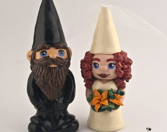 Gnome Cake Topper - Bride and Groom Wedding Figurine - Garden themed anniversary gift