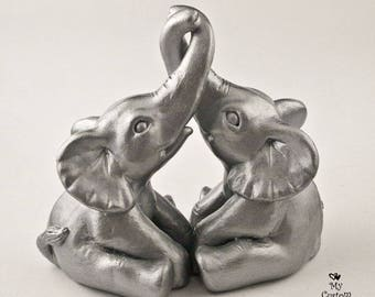 Elephant Wedding Cake Topper, Silver or Choose Colors