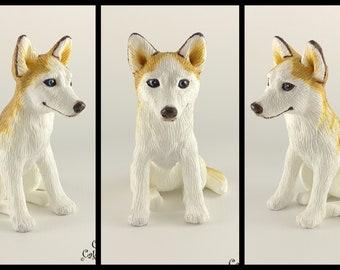 Dog Husky Sculpture - Realistic Dog Figurine - Blonde Husky Wedding Cake Topper