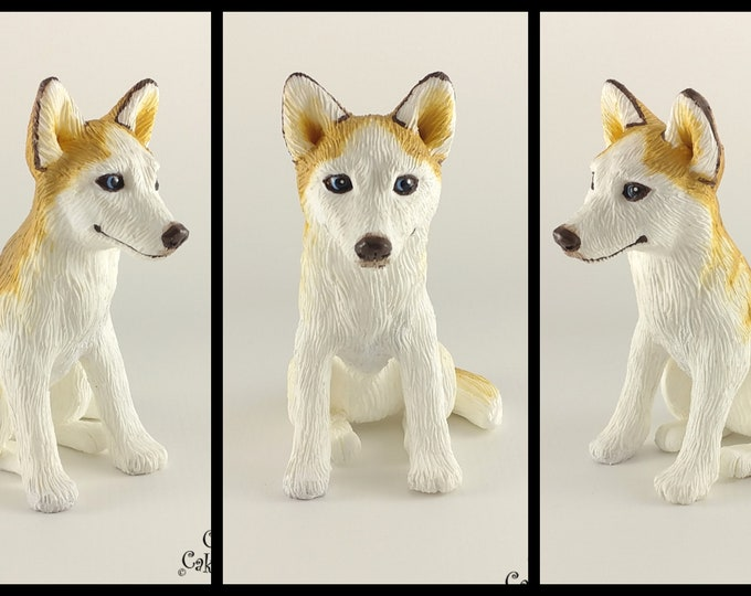 Dog Husky Sculpture - Realistic Dog Figurine - Blonde Husky Wedding Cake Topper