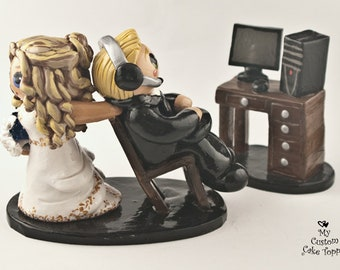 Gaming Cake Topper - Bride Dragging Groom from Computer - Nerd Geek Wedding Decoration
