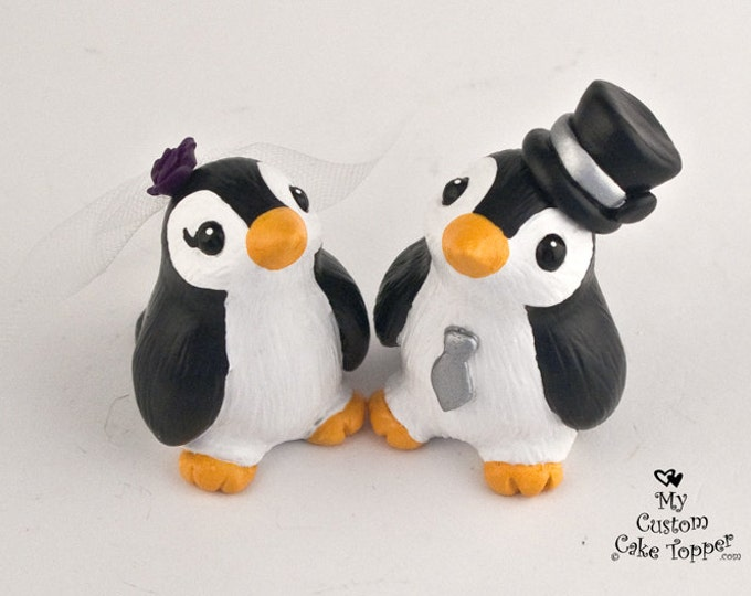 Penguin Wedding Cake Topper - Cute Penguins Standing- Pick your colors and accessories