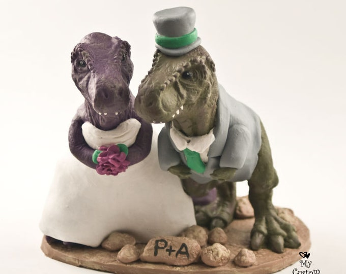 T-Rex Dinosaur Cake Topper - Realistic Bride and Groom Tyrannosaurus Rex