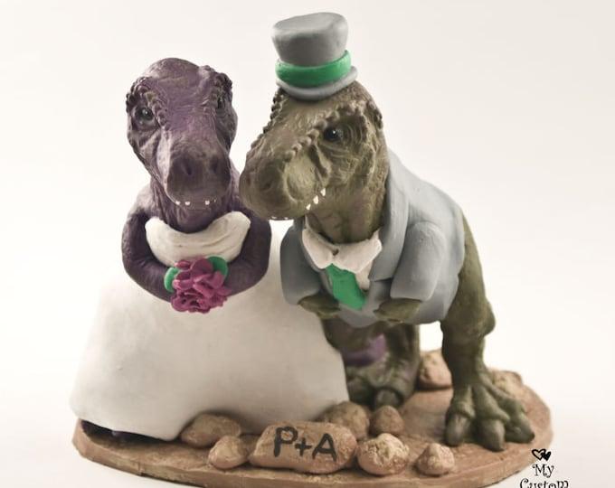 T-Rex Dinosaur Cake Topper - Realistic Bride and Groom Tyrannosaurus Rex