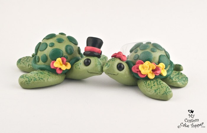 Turtles Wedding Cake Topper - Cute Pick your Colors
