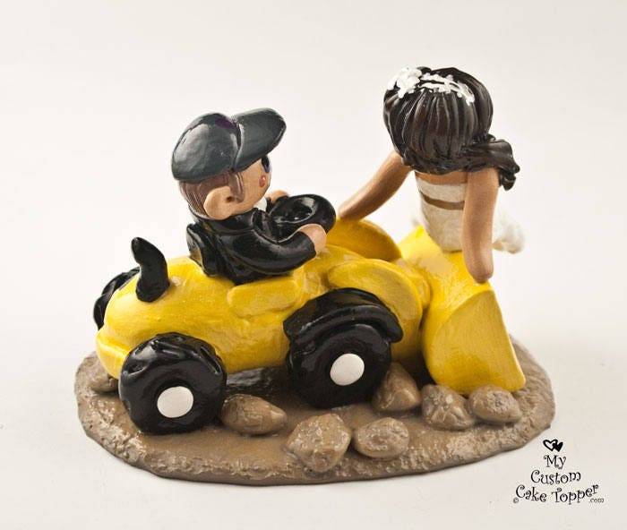 Bride and Groom Front Loader Wedding Cake Topper - Riding ...