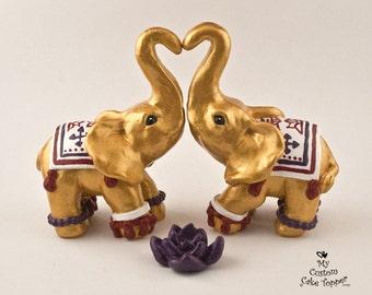 Elephant Wedding Cake Topper - Decorated Lotus - Dressed Up