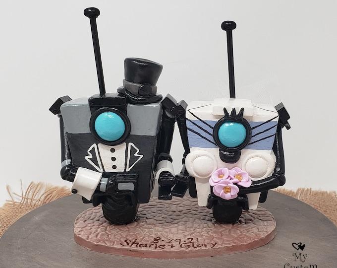 Borderlands Cake Topper - Claptrap Video Game Gaming Wedding Cake Topper Figurine - Digital Love - Gamer Wedding Sculpture