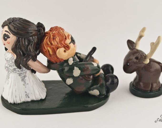 Hunting Cake Topper - Outdoors Bride and Groom Wedding Figurine - Handmade Anniversary Gift