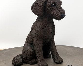 Dog Labradoodle Sculpture - Realistic Dog Figurine - Labradoodle Wedding Cake Topper - Pet Portrait Keepsake Memorial