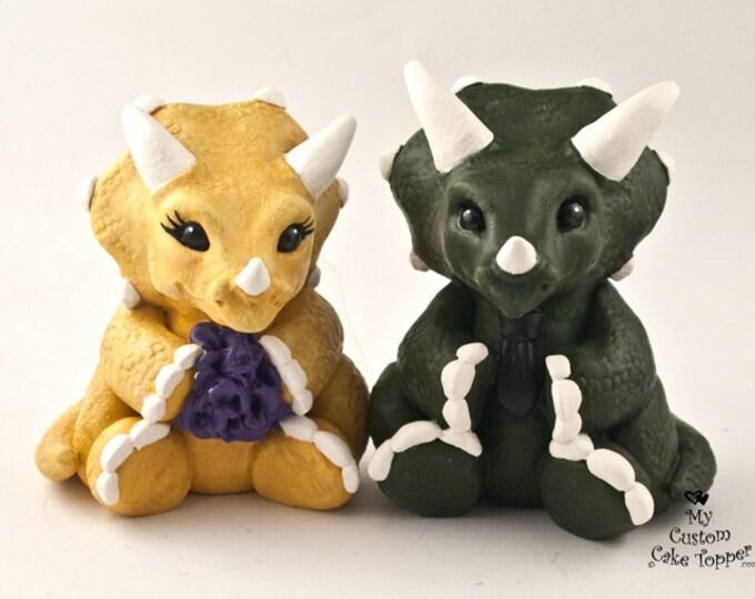 Triceratops Wedding Cake Topper Figurine - Cute Dino Bride and Groom - Dinosaur Sculpture - Prehistoric Wedding